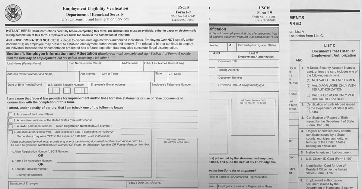 The each page of the newest version of the I-9 form is laid out for display.